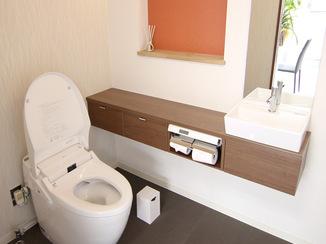 トイレリフォーム 畳風タイルで和モダンに仕上げた最新式トイレ